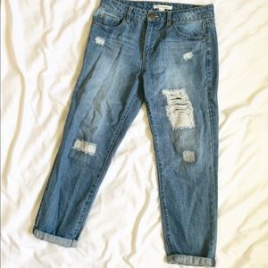 Life in Progress | Distressed Boyfriend Crop Jeans